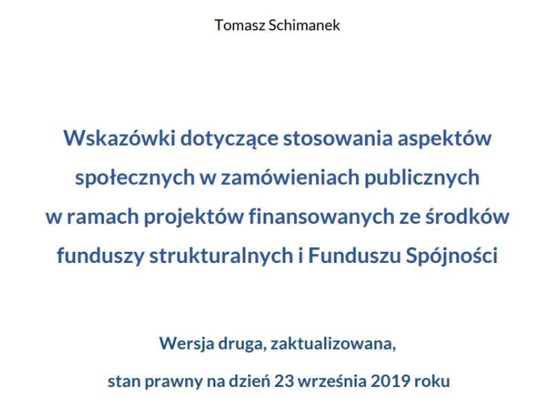 Wskazówki dotyczące stosowania aspektów społecznych w zamówieniach publicznych w ramach projektów finansowanych ze środków funduszy strukturalnych i Funduszu Spójności