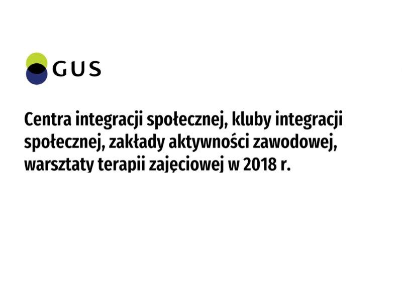 Centra integracji społecznej, kluby integracji społecznej, zakłady aktywności zawodowej, warsztaty terapii zajęciowej w 2018 roku