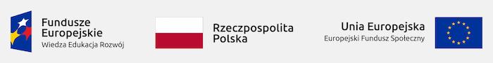 Logotypy: Fundusze Europejskie – Wiedza Edukacja Rozwój; Rzeczpospolita Polska; Unia Europejska – Europejski Fundusz Społeczny